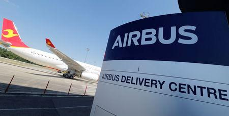 A logo of Airbus is pictured at the entrance of the company's delivery center in Colomiers near Toulouse, France, July 10, 2018. REUTERS/Regis Duvignau