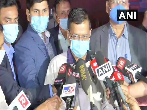 Delhi Chief Minister Arvind Kejriwal speaking to reporters in New Delhi on Sunday.