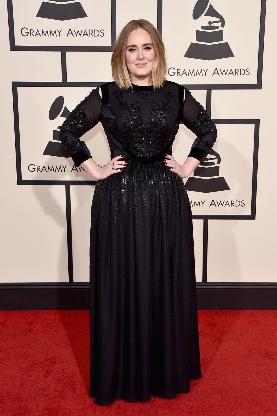 <p>The singer was classically elegant at the 2016 Grammy Awards in black Givenchy. <br></p>