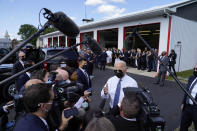 President Joe Biden speaks to members of the media as he visits the Shanksville Volunteer Fire Department in Shanksville, Pa., Saturday, Sept. 11, 2021. Biden stopped by after visiting the nearby Flight 93 National Memorial to commemorate the 20th anniversary of the Sept. 11, 2001, terrorist attacks. (AP Photo/Evan Vucci)
