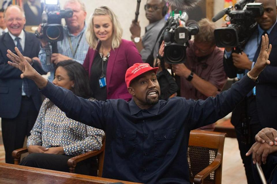 West sporting a Maga hat during the notorious 2018 meeting (AFP via Getty Images)