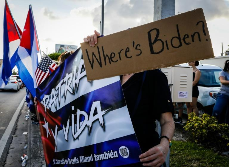 Demonstrators in Hialeah, Florida waved Cuban and US flags in support of protests in Cuba on July 15