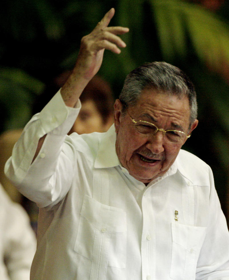 Cuba's President Raul Castro speaks during the 6th Congress of the Cuban Communist Party in Havana, Cuba, Saturday, April 16, 2011. Raul Castro proposed term limits for Cuban politicians on Saturday,  including himself, a remarkable gesture on an island ruled for 52 years by him and his brother Fidel.(AP Photo/Javier Galeano)