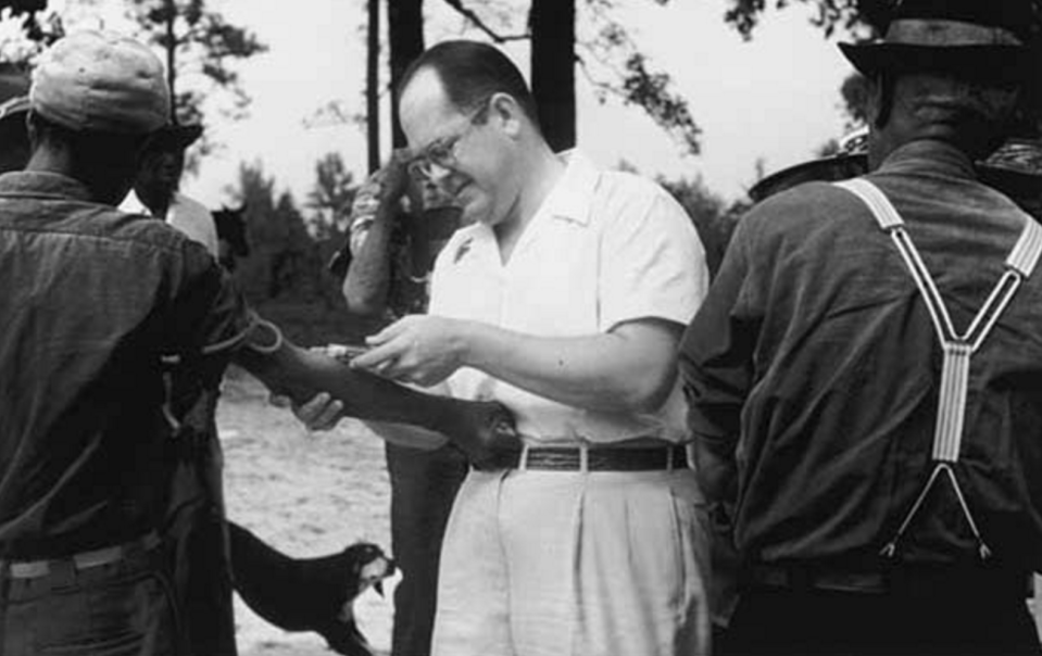 The Public Health Service and the Tuskegee Institute initially recruited 600 men and told them they were receiving free health care. The study's purpose was to observe the natural progress of untreated syphilis in African American men that lived in rural areas. When funding was cut, the experiment was continued without telling the participants they would never receive treatment. (National Archives)