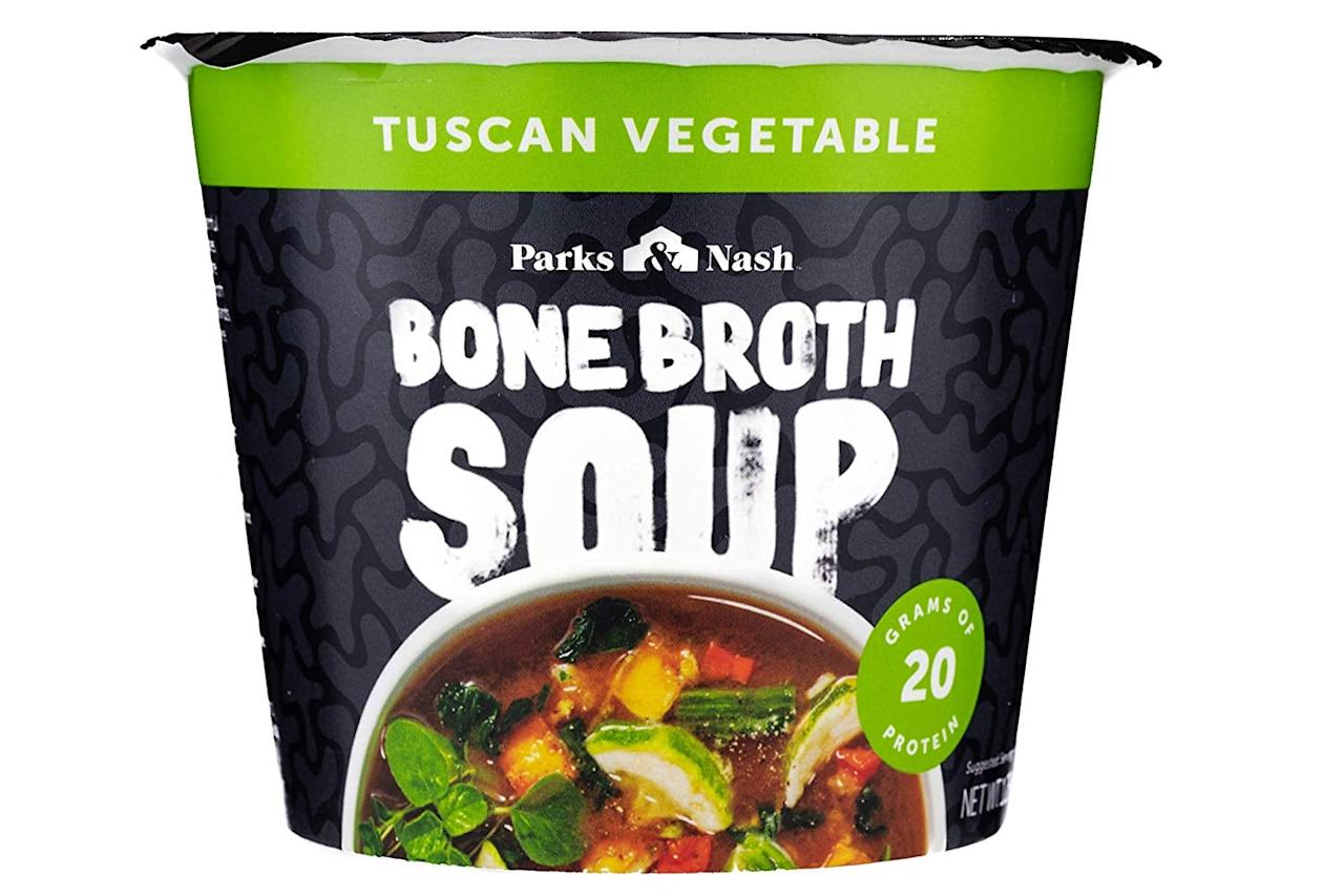 """<p>Craving something warm and cozy? Try <a href=""""https://www.popsugar.com/buy/Parks-Nash-Tuscan-Vegetable-Bone-Broth-Soup-545090?p_name=Parks%20and%20Nash%20Tuscan%20Vegetable%20Bone%20Broth%20Soup&retailer=walmart.com&pid=545090&price=14&evar1=fit%3Aus&evar9=47165324&evar98=https%3A%2F%2Fwww.popsugar.com%2Fphoto-gallery%2F47165324%2Fimage%2F47165329%2FParks-Nash-Tuscan-Vegetable-Bone-Broth-Soup&list1=nutrition%2Chealthy%20snacks&prop13=api&pdata=1"""" rel=""""nofollow"""" data-shoppable-link=""""1"""" target=""""_blank"""" class=""""ga-track"""" data-ga-category=""""Related"""" data-ga-label=""""https://www.walmart.com/ip/Parks-Nash-Bone-Broth-Soup-All-Natural-20g-Protein-Packed-Instant-Soup-1-CT/653327779"""" data-ga-action=""""In-Line Links"""">Parks and Nash Tuscan Vegetable Bone Broth Soup</a> ($14 for a 4-pack). Manaker says it's free of GMOs, dairy, and preservatives, and rings in at 100 calories per serving. It also serves 20 grams of protein.</p>"""