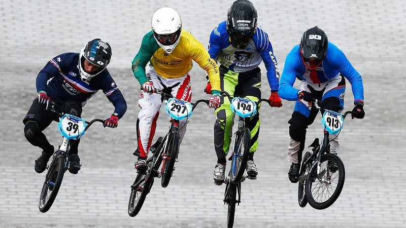 Seen here second from left Kai Sakakibara competes at the BMX World Championships in 2015.