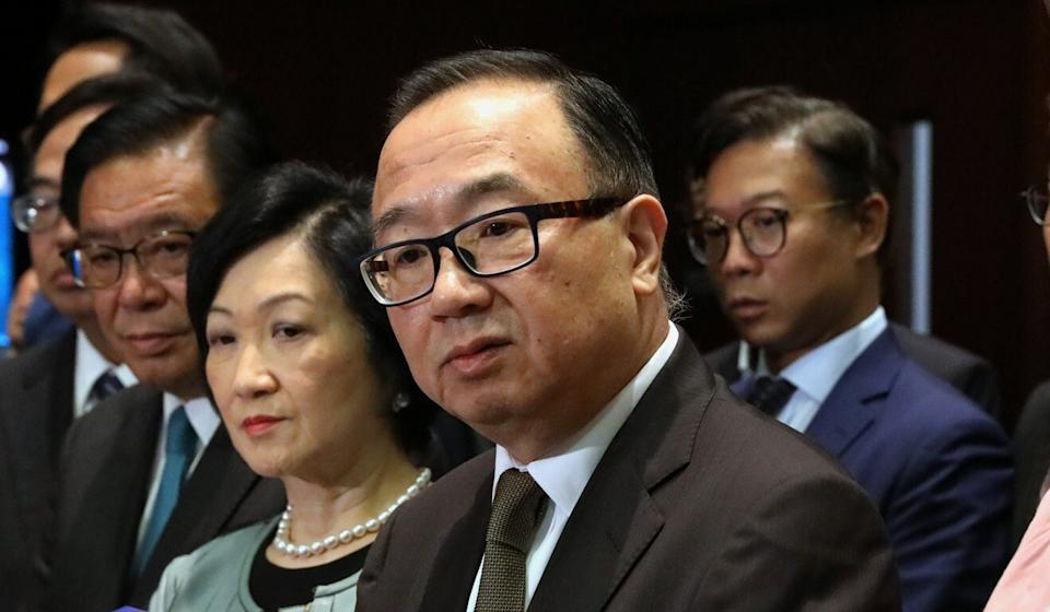"""Lawmaker Martin Liao (centre), leader of the pro-establishment bloc, has insisted Beijing's resolution enjoys """"constitutional status"""". Photo: K. Y. Cheng"""