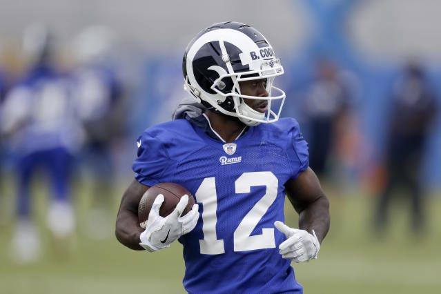 "Receiver <a class=""link rapid-noclick-resp"" href=""/nfl/players/27548/"" data-ylk=""slk:Brandin Cooks"">Brandin Cooks</a> should continue to be a solid fantasy contributor after being traded to the Los Angeles Rams in the offseason. (AP Photo/Chris Carlson)"