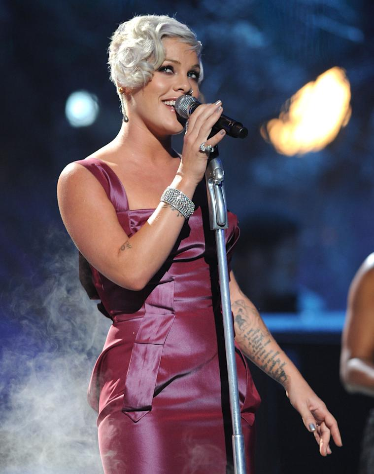 Pink<br><br>Real name: Alecia Moore<br><br>(Photo by Kevin Mazur/WireImage)