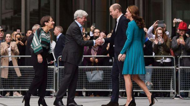 PHOTO: Britain's Prince William and his wife, Catherine, Duchess of Cambridge, are greeted by Director-General of the BBC Tony Hall and Director of BBC Children's Alice Webb during a visit to the BBC Broadcasting House in London, Nov. 15, 2018. (Ben Stansall/Pool via AFP/Getty Images)