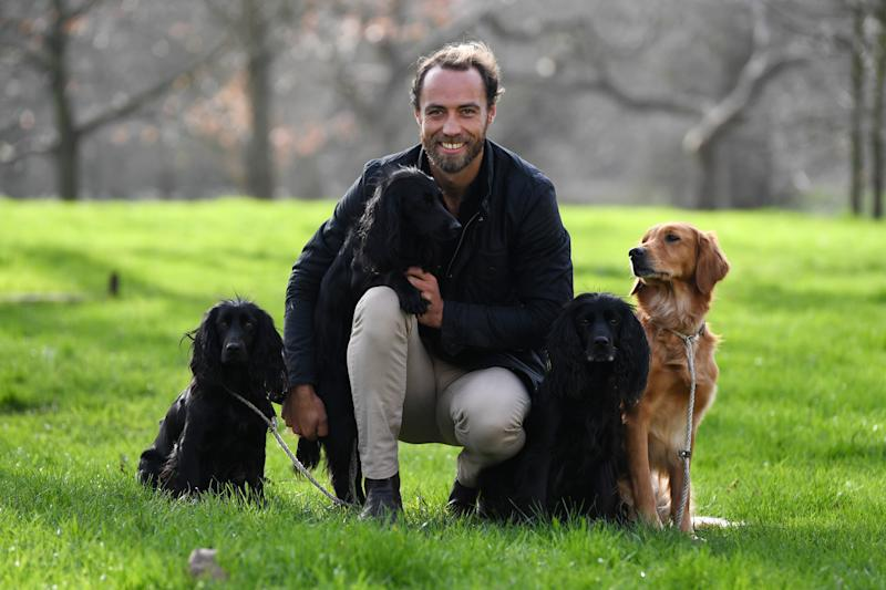 Ambassador for the Friends for Life award James Middleton poses for a photograph with his dogs Inka, Luna, Ella and Mabel at a launch event for this year's Crufts and Friends for Life in Green Park, London. (Photo by Kirsty O'Connor/PA Images via Getty Images)