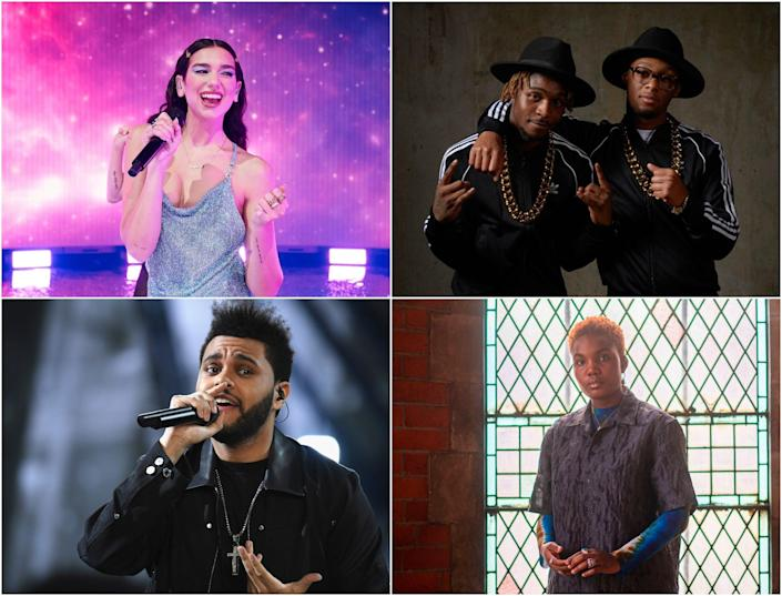 <p>Clockwise from top: Dua Lipa, Young T & Bugsey, Arlo Parks and The Weeknd </p> (Getty)