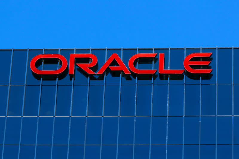 FILE PHOTO: The Oracle logo is shown on an office building in Irvine, California