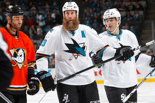 SAN JOSE, CA - OCTOBER 25: Joe Thornton #19 and Patrick Marleau #12 of the San Jose Sharks look on during the game against the Anaheim Ducks at SAP Center on October 25, 2016 in San Jose, California. (Photo by Rocky W. Widner/NHL/Getty Images) *** Local Caption *** Joe Thornton; Patrick Marleau