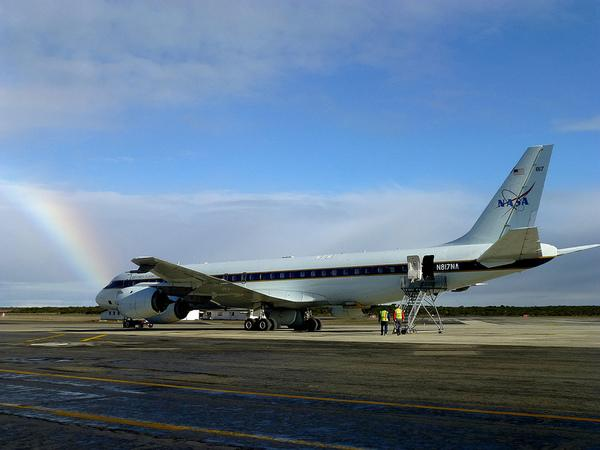 NASA's DC-8 at the end of the rainbow, at Punta Arenas' airport in Chile.