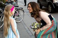 <p>It's not often we see royals stepping out in bright printed colours such as this skirt – but we love it. Source: Getty </p>