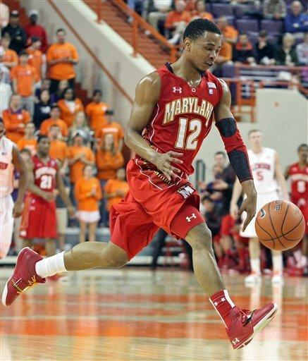 Maryland's Terrell Stoglin runs down court after stealing the ball in the second half of an NCAA college basketball game against Clemson on Tuesday, Feb. 7, 2012, in Clemson, S.C. (AP Photo/Anderson Independent-Mail, Mark Crammer) GREENVILLE NEWS, SENECA JOURNAL - OUT
