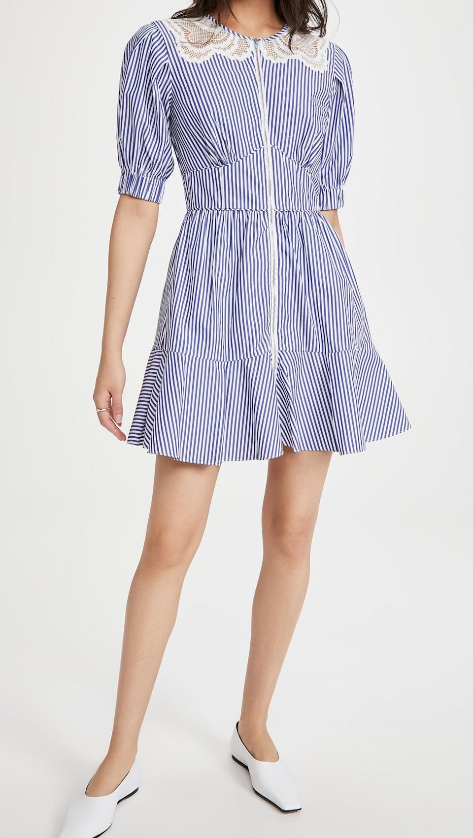 <p>The details on this <span>Self Portrait Stripe Cotton Mini Dress</span> ($400) are adorable and fun.</p>