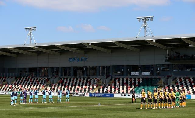 In League Two, Newport and Cambridge observed a minute of silence