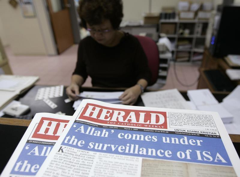 An old photo of the Catholic Church's internal newsletter 'The Herald', which the government disallowed from printing the word 'Allah' in its Bahasa Malaysia section for its Bahasa Malaysia-speaking church members. — Reuters pic