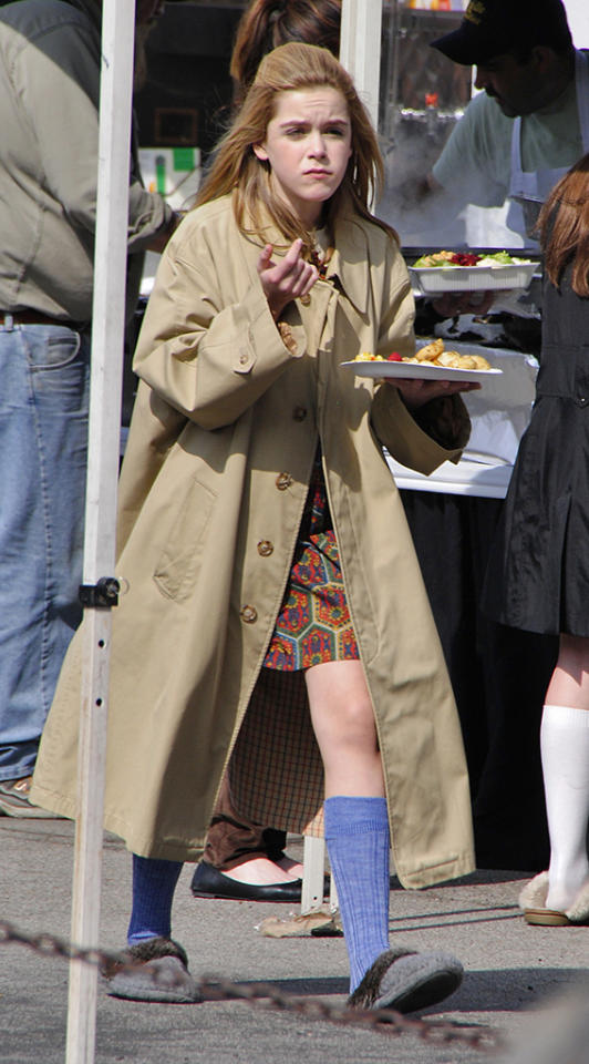 Actress Kiernan Shipka get some food to eat after a break of taping AMC's 'Mad Men' in Glendale, California.
