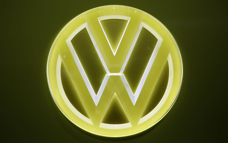 FILE PHOTO: View of an emblem on a Volkswagen I.D. Buzz electric concept vehicle during the North American International Auto Show in Detroit