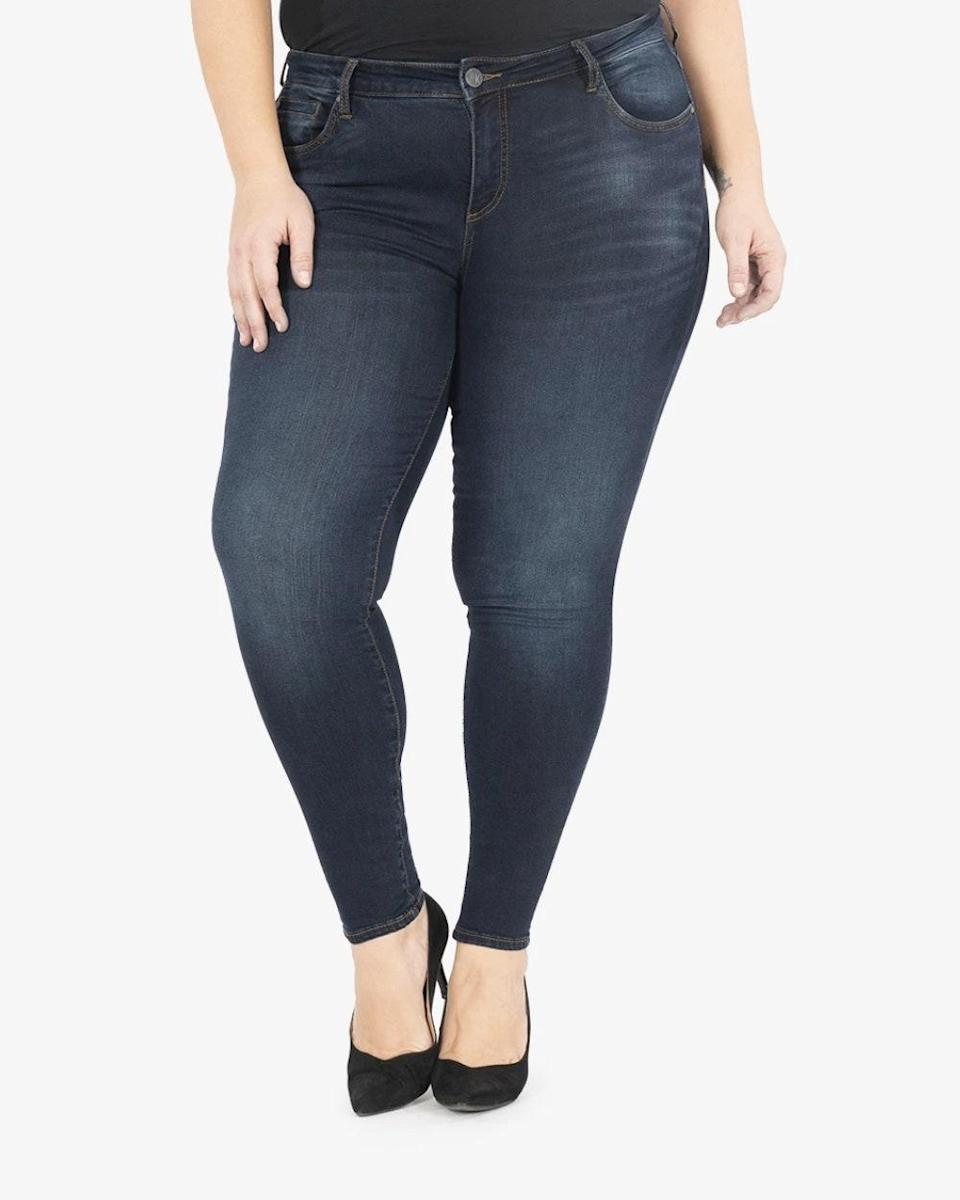 "For me, great denim is both trendy and comfortable. I want my jeans to hug my curves, but give me breathing room. Kut From the Kloth's Skinny Jeans are a fave for me. They are super stretchy and hug my body just right. And they come in sizes 10W to 26W. —<a href=""https://www.instagram.com/eclectickurves/"" rel=""nofollow noopener"" target=""_blank"" data-ylk=""slk:Sierra"" class=""link rapid-noclick-resp""><em>Sierra</em></a><em>, 22-24W, Carmel, Indiana</em> $89, Kut. <a href=""https://kutfromthekloth.com/collections/plus-denim/products/kp4880gm4-diana-relaxed-fit-skinny-plus-observant"" rel=""nofollow noopener"" target=""_blank"" data-ylk=""slk:Get it now!"" class=""link rapid-noclick-resp"">Get it now!</a>"