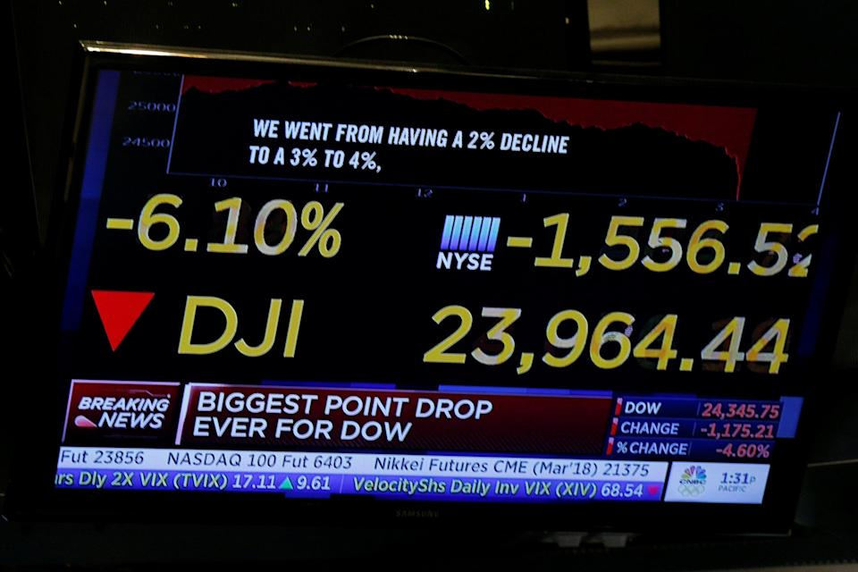 A screen shows CNBC's analysis of the Dow Jones Industrial Average during a sell off on the floor of the New York Stock Exchange, (NYSE) in New York, U.S., February 5, 2018. REUTERS/Brendan McDermid