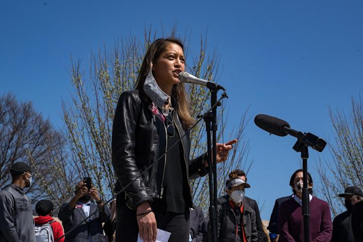 Georgia state Rep. Bee Nguyen speaks to a group of demonstrators gathered in Atlanta to show support for Asian and Pacific Islander communities on March 20, 2021. Demonstrations have taken place across the United States after a series of shootings at three spas, on Tuesday, in the Atlanta area left eight people dead, six of whom were Asian women.