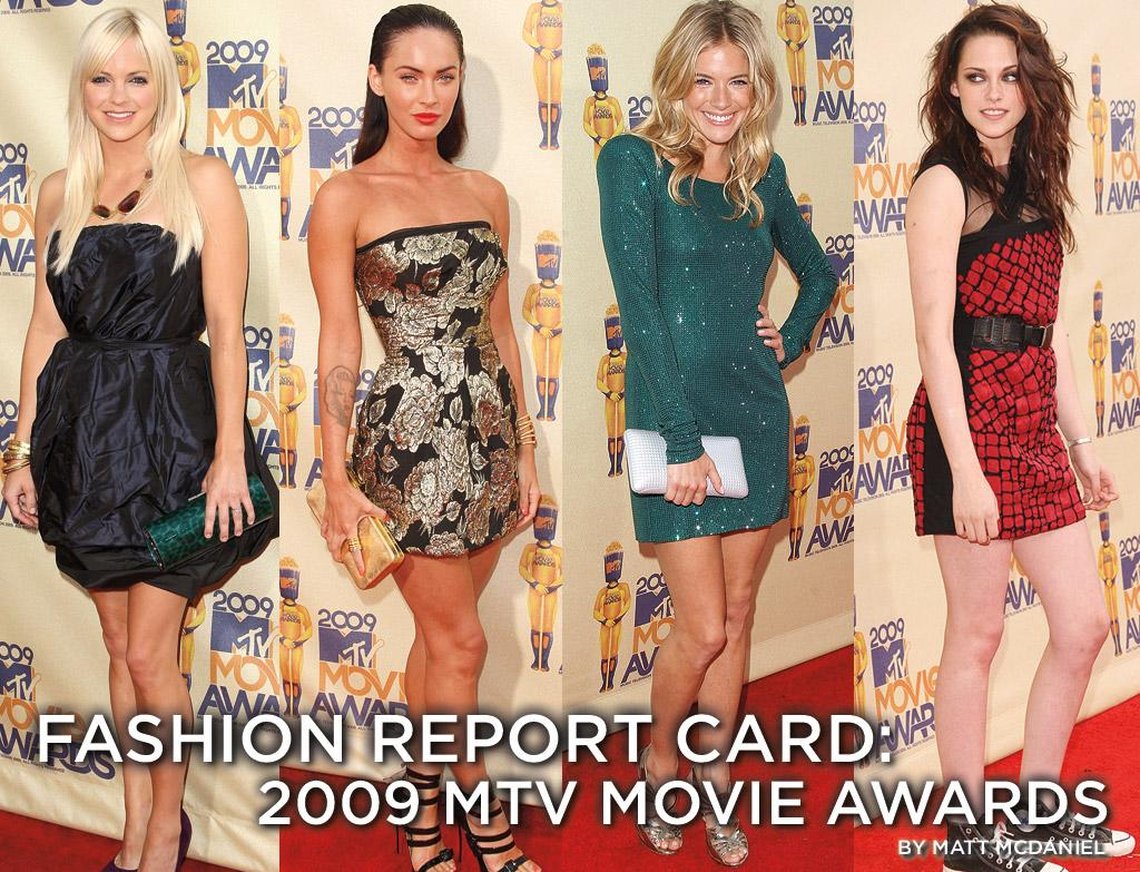 """After award shows, it's always fun to look at the red carpet fashions and divide up the looks into """"Best"""" and """"Worst"""" categories. But at Sunday's MTV Movie Awards, the stars didn't give us much we could file under """"Best."""" Yeah, it's MTV and it's summer, so wild looks and short skirts are to be expected, but the garish colors and unflattering designs would be out of place any time, any where. So we may have to grade on a curve."""