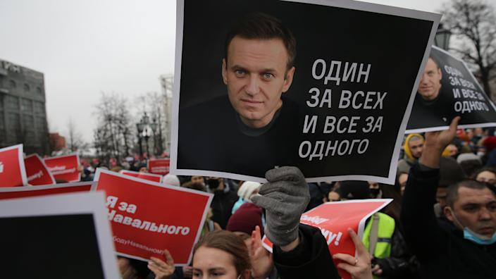 A rally in support of Russian oppositon leader Alexei Navalny