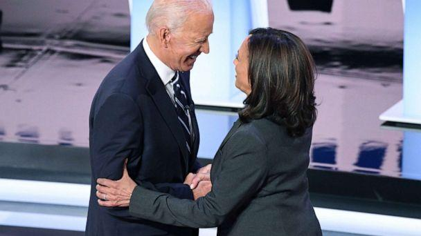 PHOTO: Democratic presidential hopefuls former Vice President Joe Biden and Sen. Kamala Harris greet each other ahead of the second round of the second Democratic primary debate in Detroit, July 31, 2019. (Jim Watson/AFP/Getty Images)