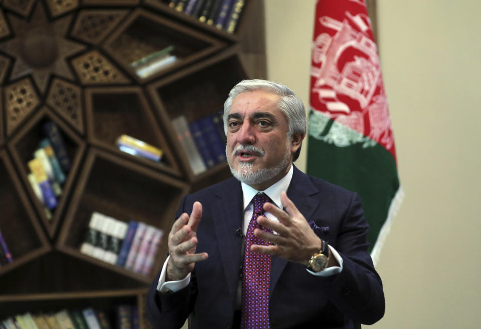 Abdullah Abdullah, Chairman of the High Council for National Reconciliation gives an interview to The Associated Press at the Sapidar Palace in Kabul, Afghanistan, Saturday, May 1, 2021. Afghanistan's chief peace negotiator says the often fractured Afghan political leadership must unify or risk the withdrawal of U.S. and NATO troops that has officially begun bringing more bitter fighting. (AP Photo/Rahmat Gul)