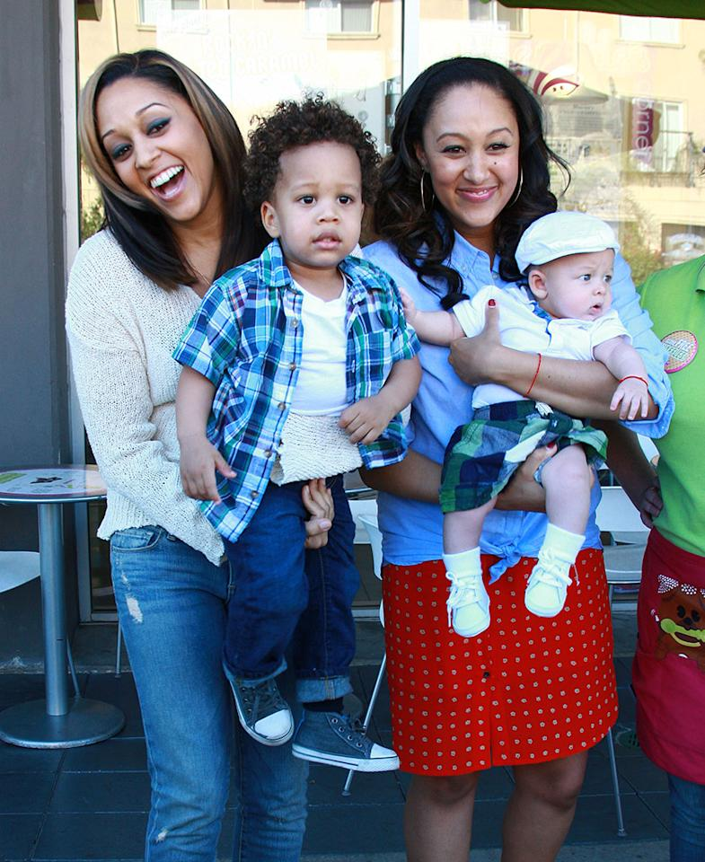 51038009 Actresses Tia & Tamera Mowry film scenes for their reality show at Menchies in Studio City, California on March 14, 2013. FameFlynet, Inc - Beverly Hills, CA, USA -  1 (818) 307-4813