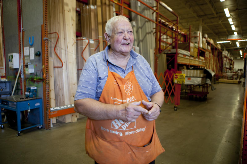 BOSTON, MA - AUGUST 13: Ben Hauptman, a senior citizen, works as a sales associate at Home Depot in the lumber department, on August 13, 2012 in Boston, Massachusetts. Hauptman has worked for the hardware store for 10 years. 'I retired and I just couldn't take it anymore,' he says. 'I came down here looking for a part-time job, but they wanted me full time. It keeps me out of trouble!' Home Depot employs many people past retirement age. Seniors are valued as employees for their experience and reliability. Many work because they like to stay active, while others also need the income to survive. (Photo by Melanie Stetson Freeman/The Christian Science Monitor via Getty Images)