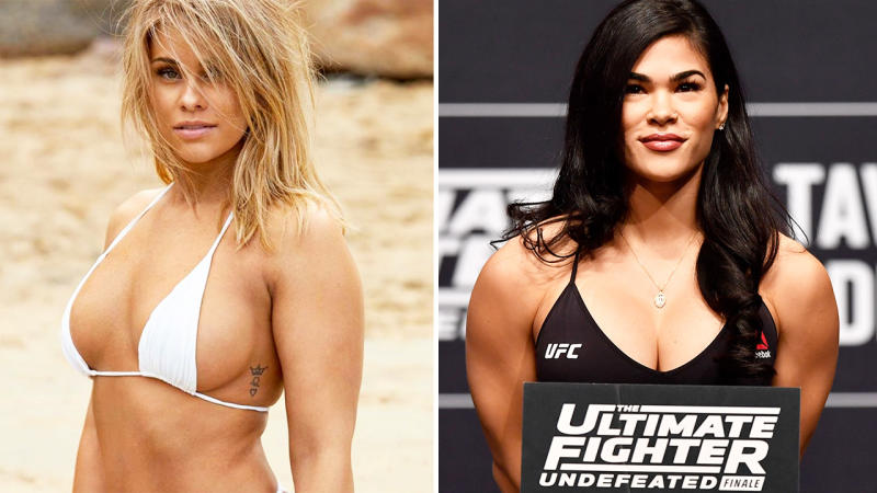 Paige Van Zant and Rachel Ostovich, pictured here on Instagram and during a UFC event.