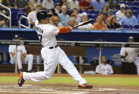 Miami Marlins' Stanton hits a home run against the Los Angeles Dodgers during their MLB National League baseball game in Miami