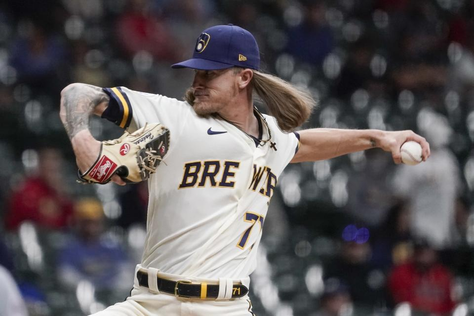 Milwaukee Brewers relief pitcher Josh Hader throws during the ninth inning of a baseball game against the St. Louis Cardinals Wednesday, May 12, 2021, in Milwaukee. (AP Photo/Morry Gash)