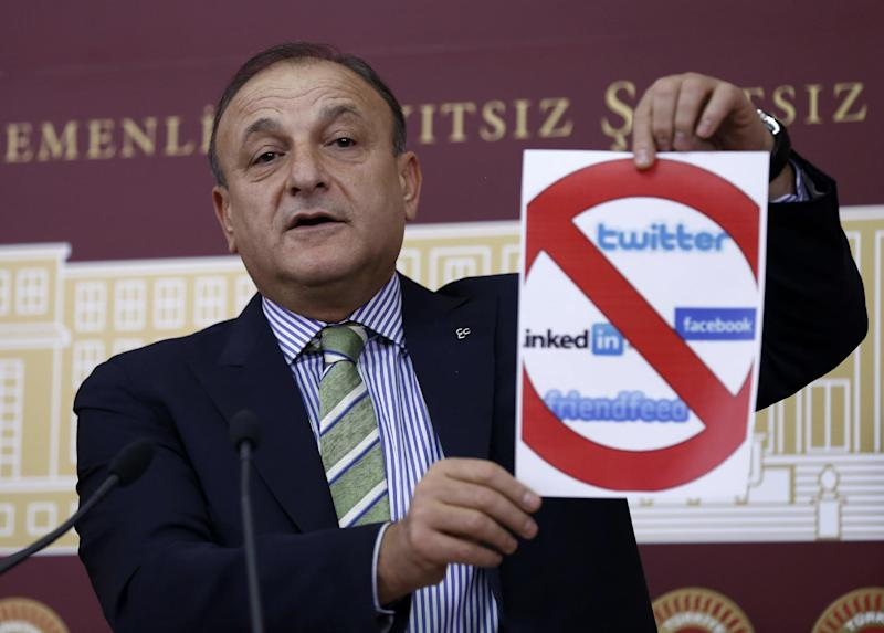 In this picture taken late Wednesday, Feb. 5, 2014, Oktay Vural, a leading deputy from the opposition Nationalist Action Party, MHP, holds up a placard during a parliamentary debate in Ankara, Turkey, shortly before Turkey's Parliament approved legislation that would tighten government controls over the Internet. Legislators approved measures which would allow Turkey's telecommunications authority to block websites or remove content that is deemed to be in violation of privacy, without first seeking a court decision. Under the new law, Internet providers would also be forced to keep data on peoples' online activities and make them available to authorities when requested. (AP Photo)