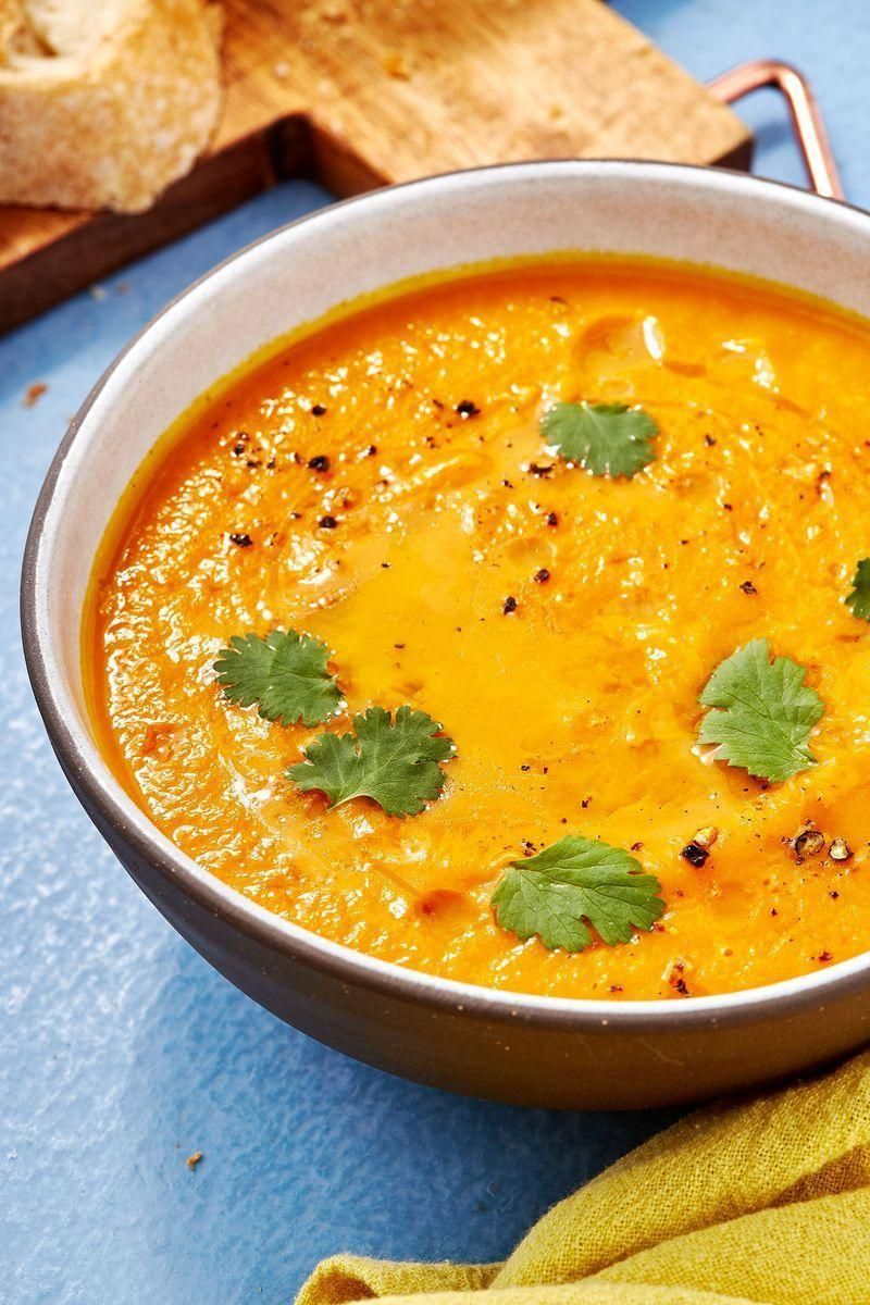 """<p>If you're after a healthy soup recipe, look no further than this gorgeous sweet potato and carrot version. Packed full of veggies, it's quick to make, and super filling. And don't be put off by the apples and honey, these two crucial ingredients give the soup a gorgeous, and much-needed sweetness.</p><p>Get the <a href=""""https://www.delish.com/uk/cooking/recipes/a29952051/sweet-potato-and-carrot-soup/"""" rel=""""nofollow noopener"""" target=""""_blank"""" data-ylk=""""slk:Sweet Potato And Carrot Soup"""" class=""""link rapid-noclick-resp"""">Sweet Potato And Carrot Soup</a> recipe.</p>"""