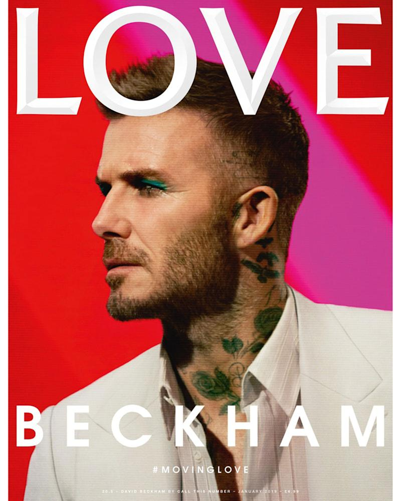 David Beckham Wears Turquoise Eyeliner On Cover Of Love Magazines