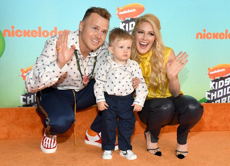 Spencer Pratt and Heidi Montag, depicted with their son Gunner. (Photo: Kevin Mazur/Getty Images)