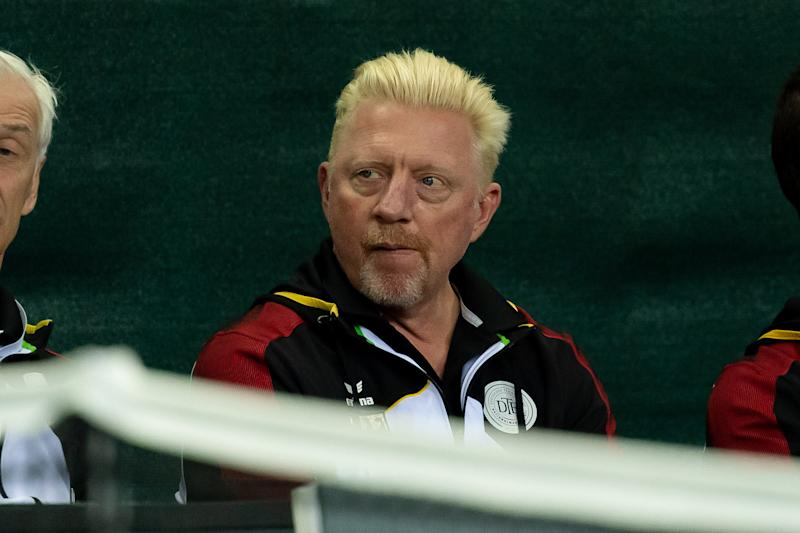 Boris Becker looks dejected during the first day of the Davis Cup qualifier.