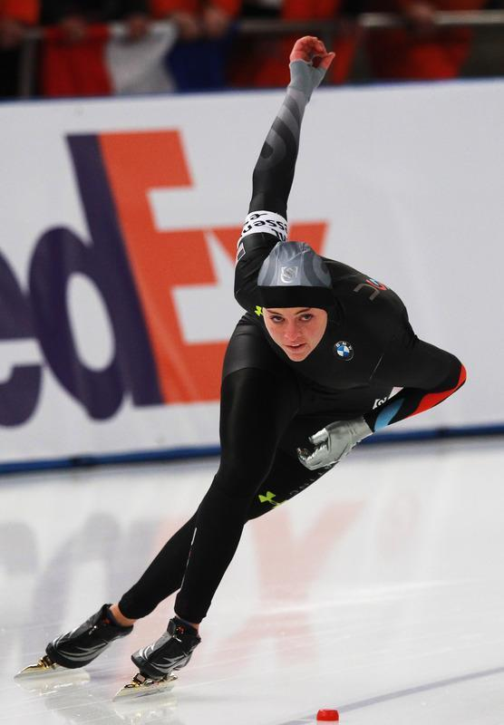 BERLIN, GERMANY - MARCH 10: Heather Richardson of USA competes in the 500m heats during Day 2 of the Essent ISU Speed Skating World Cup at Sportforum Berlin on March 10, 2012 in Berlin, Germany. (Photo by Joern Pollex/Bongarts/Getty Images)