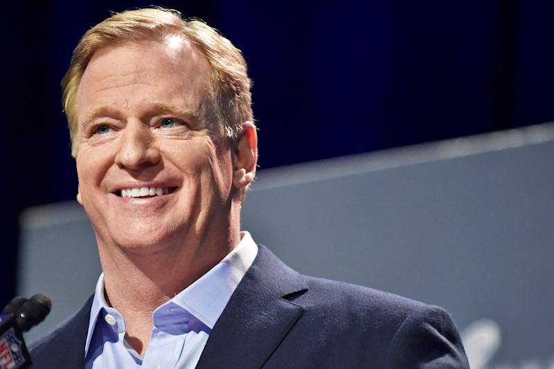 ATLANTA, GA - JANUARY 30: NFL Commissioner Roger Goodell speaks to the media over various topics in the league leading up to Super Bowl LIII at the Georgia World Congress Center on January 30, 2019, in Atlanta, GA. (Photo by Austin McAfee/Icon Sportswire via Getty Images)