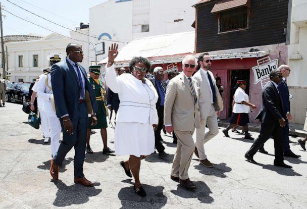 PHOTO: Prime Minister of Barbados Mia Mottley accompanies Charles, the Prince of Wales during a royal tour of Bridgetown, Barbados, March 18, 2019. (Jane Barlow/AP, FILE)