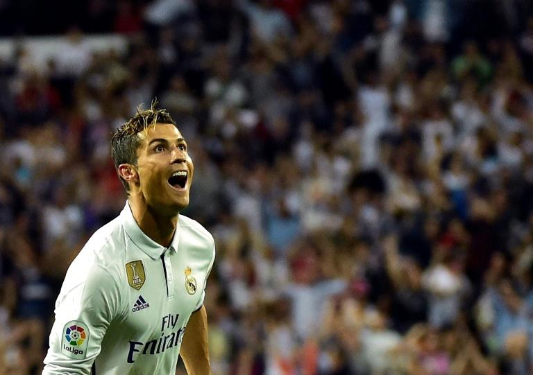 Real Madrid's forward Cristiano Ronaldo celebrates after scoring on May 14, 2017