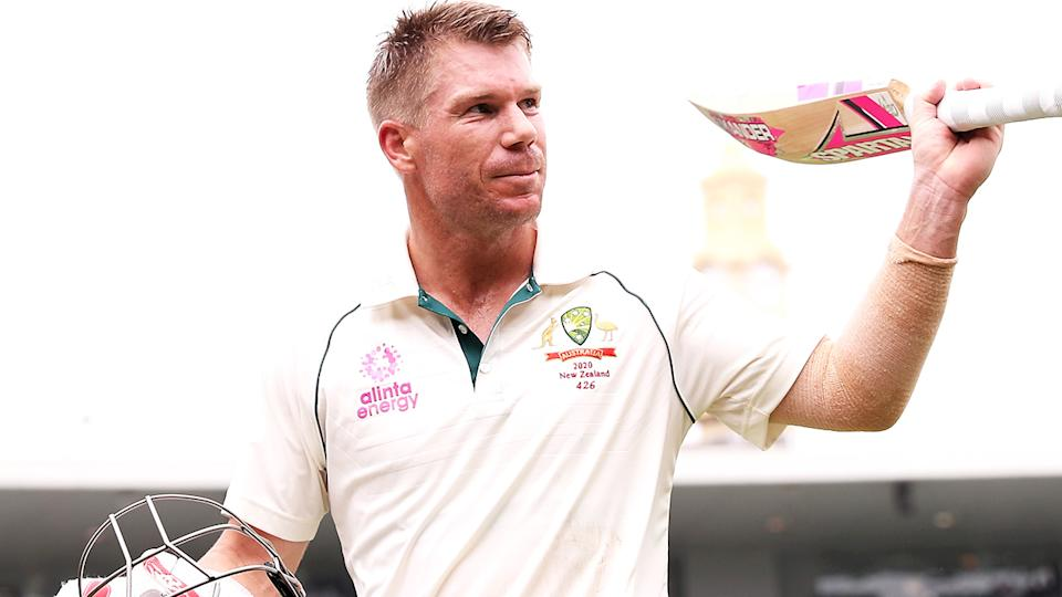 David Warner, pictured here after a century in the third Test between Australia and New Zealand in January.