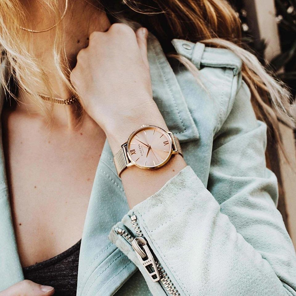 """It's time to realize that watches are great pieces of jewelry, even if you still look at your phone when you need to know what time it is.<br /><br /><strong>Promising review:</strong>""""This is a lovely wristwatch. While the style is simple and crisp with its classy, uncluttered face, the rose gold combined with fog leather band gives an uncommon look to the watch.<strong>The price is good for such quality and sleek design.</strong>Equally important is that the watch is keeping time as it should—otherwise, I wouldn't be so free with compliments. I am wearing this watch with pleasure!"""" —<a href=""""https://amzn.to/3tlKelw"""" target=""""_blank"""" rel=""""nofollow noopener noreferrer"""" data-skimlinks-tracking=""""5753950"""" data-vars-affiliate=""""Amazon"""" data-vars-href=""""https://www.amazon.com/gp/customer-reviews/R1SDSIFP8ZWL68?tag=bfabby-20&ascsubtag=5753950%2C29%2C30%2Cmobile_web%2C0%2C0%2C0"""" data-vars-keywords=""""cleaning,fast fashion"""" data-vars-link-id=""""0"""" data-vars-price="""""""" data-vars-retailers=""""Amazon"""">JTC</a><br /><br /><strong>Get it from Amazon for<a href=""""https://amzn.to/3v2EYnv"""" target=""""_blank"""" rel=""""nofollow noopener noreferrer"""" data-skimlinks-tracking=""""5753950"""" data-vars-affiliate=""""Amazon"""" data-vars-asin=""""B078YCHHWM"""" data-vars-href=""""https://www.amazon.com/dp/B078YCHHWM?tag=bfabby-20&ascsubtag=5753950%2C29%2C30%2Cmobile_web%2C0%2C0%2C15956490"""" data-vars-keywords=""""cleaning,fast fashion"""" data-vars-link-id=""""15956490"""" data-vars-price="""""""" data-vars-product-id=""""18914629"""" data-vars-product-img=""""https://m.media-amazon.com/images/I/41f6401dm1L.jpg"""" data-vars-product-title=""""Vincero Women's Eros Luxury Watch 38mm Quartz Movement Rose Gold"""" data-vars-retailers=""""Amazon"""">$130</a>(available in 24 colors).</strong>"""