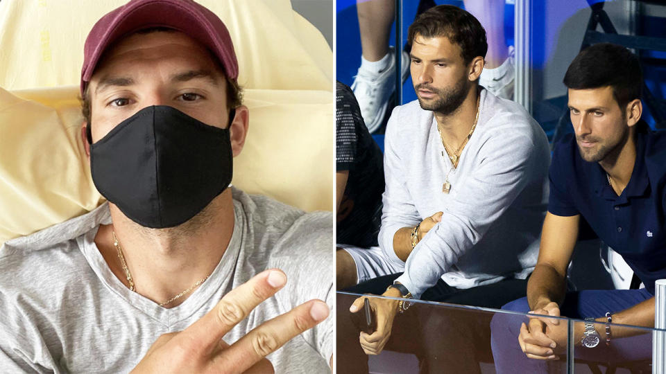 Grigor Dimitrov, pictured here after contracting coronavirus at the Adria Tour.